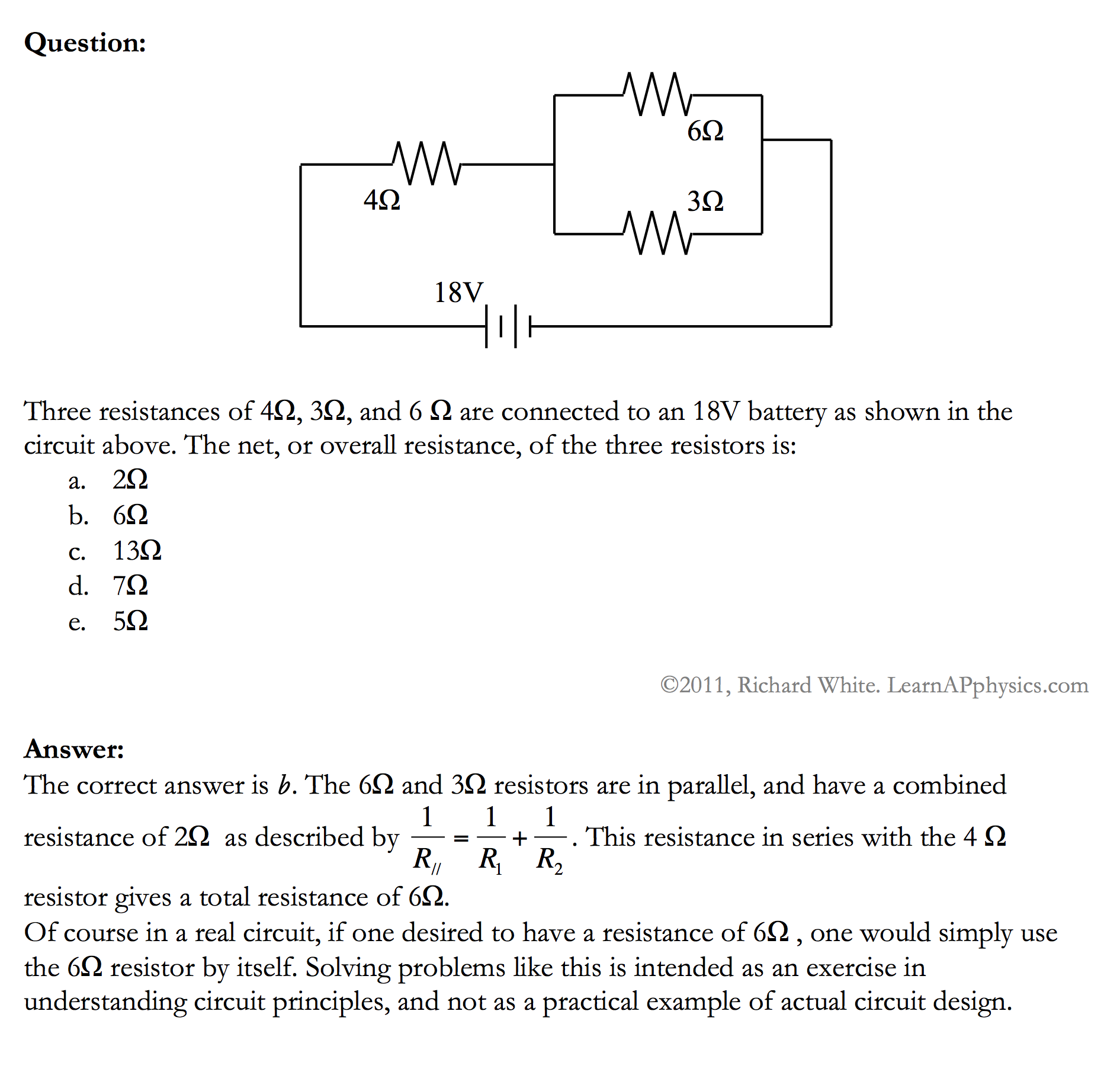 Learn Ap Physics C Circuits Electric Resistors In Series And Parallel Free Solution