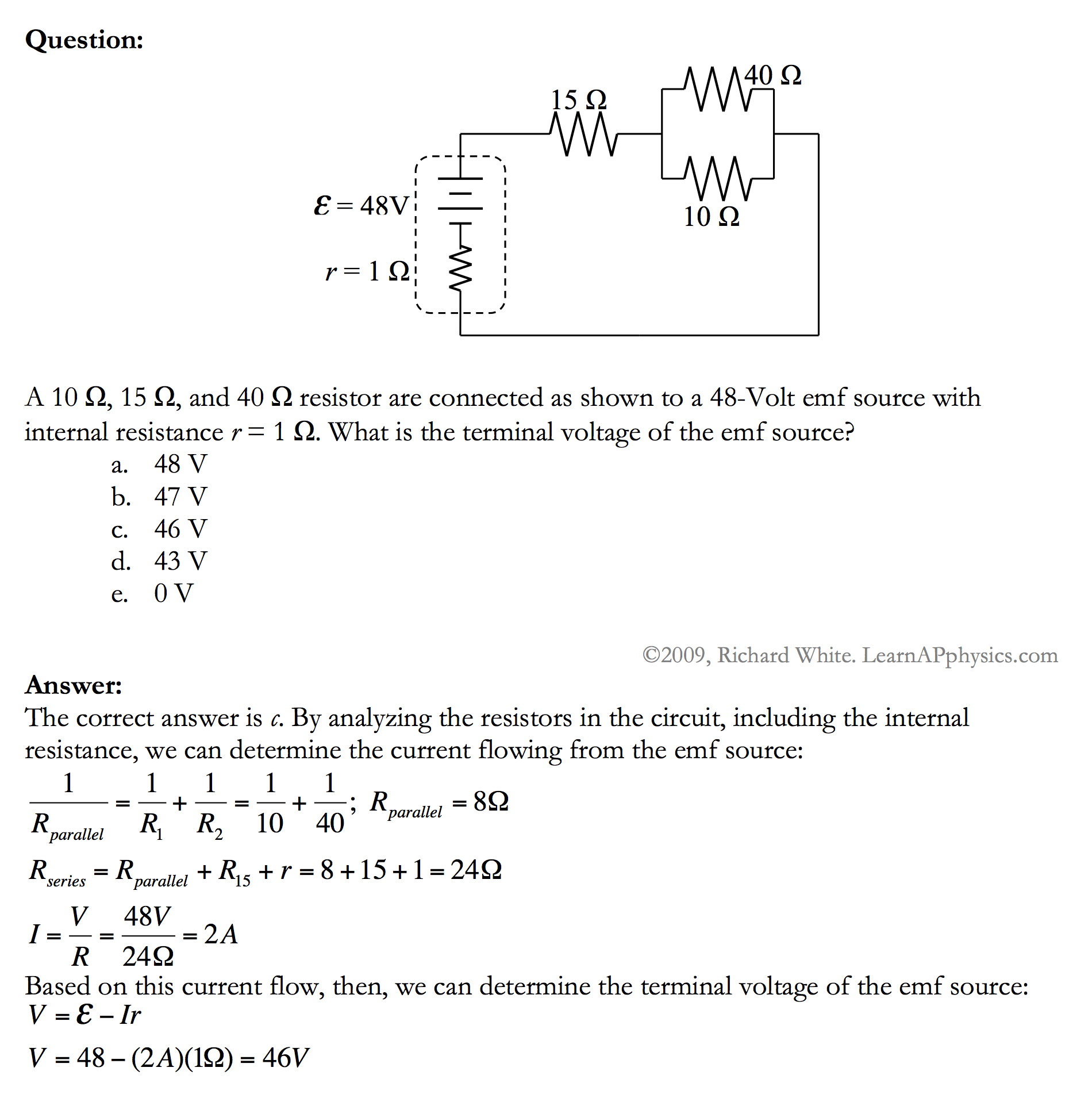 Learn Ap Physics C Circuits Series Circuit Advanced Solution