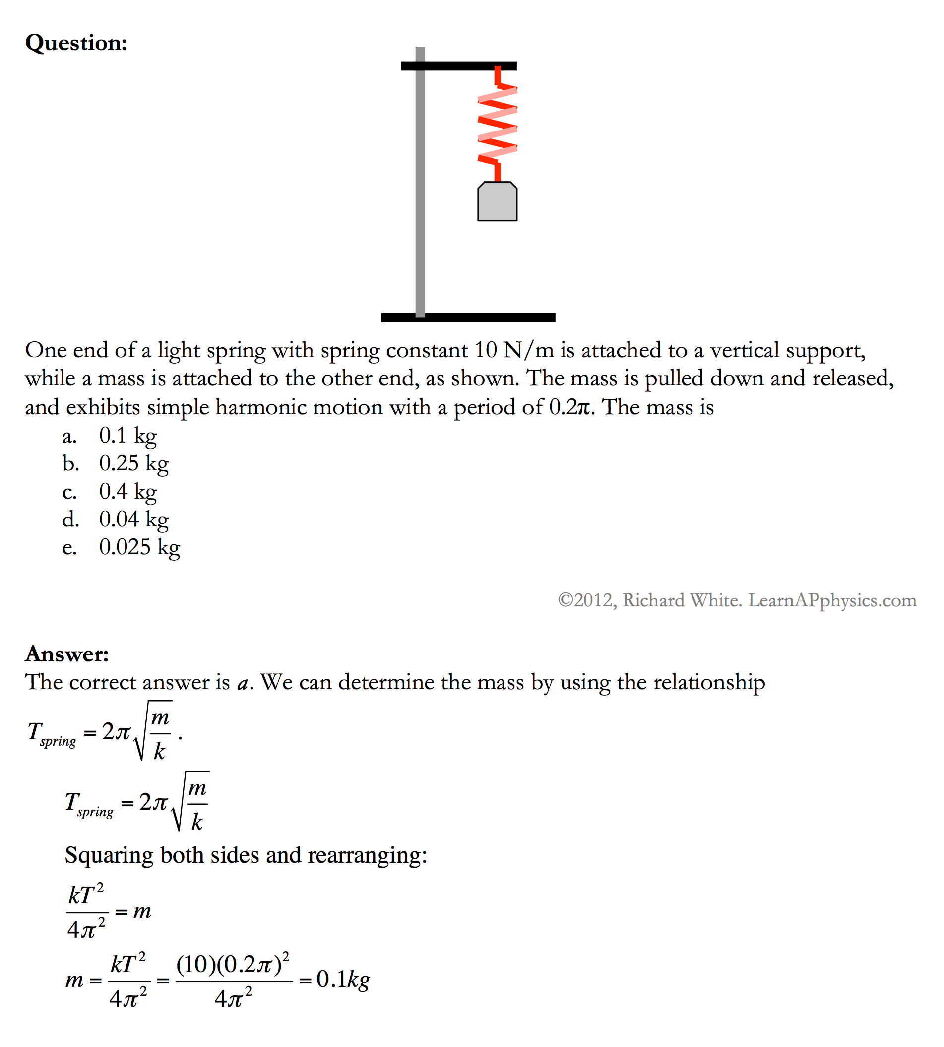 Worksheets Simple Harmonic Motion Worksheet learn ap physics c oscillation solution