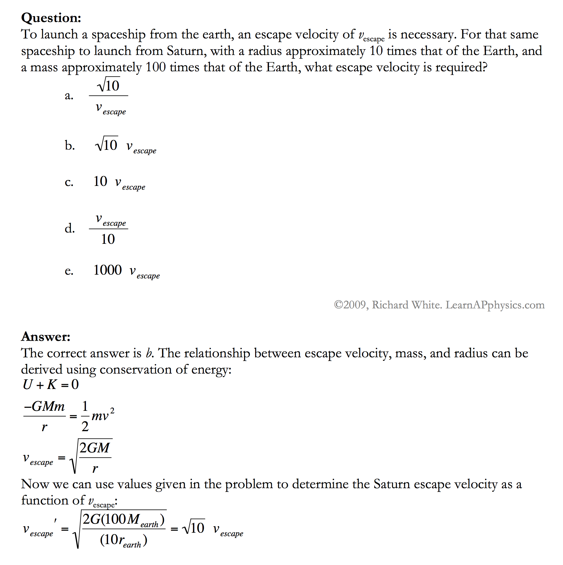 learn ap physics physics c gravitation solution
