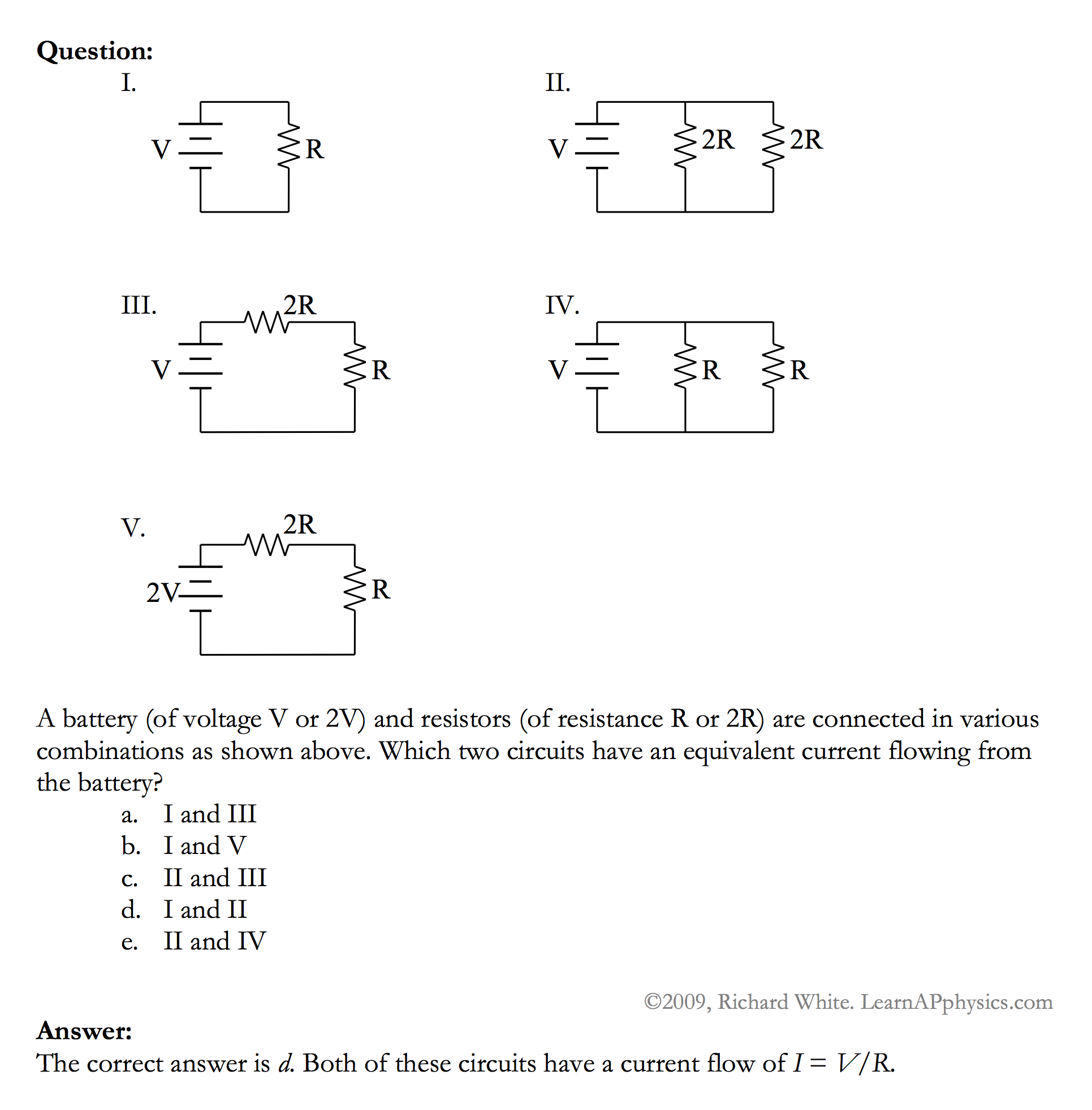 Learn Ap Physics C Circuits Dc Electric Solution